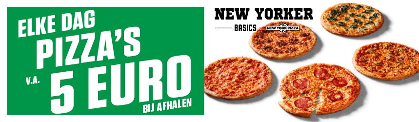New Yorker Basics elke dag pizza afhalen 5 euro